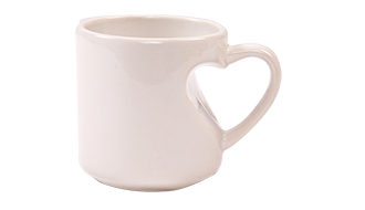 11oz HEART HANDLE WHITE MUG (OLD HEART)